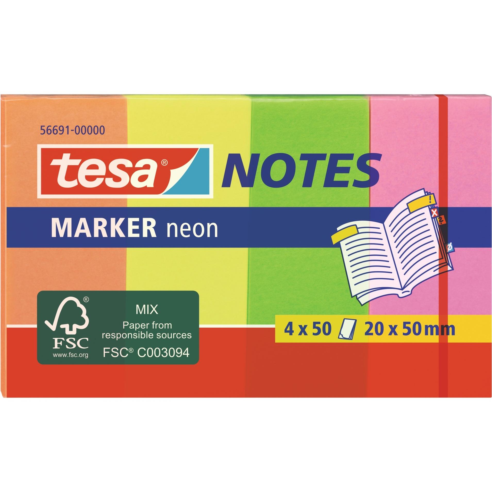 Image of Marker Notes neon, 4 x 50 Blatt, Aufkleber
