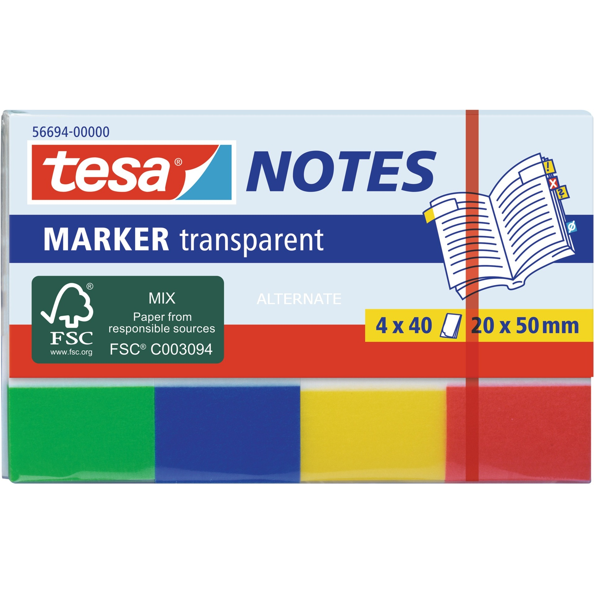 Image of Marker Notes transparent, 4 x 40 Blatt, Aufkleber